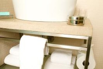 Go for both storage and style in small bathroom design.