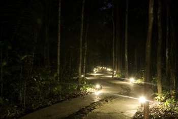 Adding lights to a pathway is both decorative and practical.