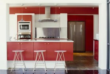 Red cabinets give kitchens a contemporary flair.