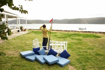 Incorporate nautical themes in your outdoor furniture to set the nautical scene.