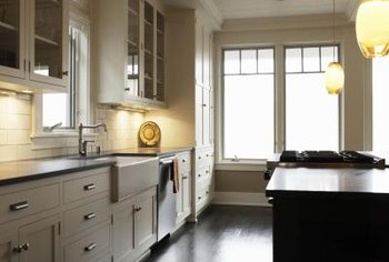 Light colors can help to brighten a galley kitchen.