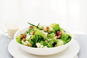 A salad that incorporates nuts and low-fat cheese could be a healthful lunch option.
