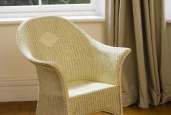 Cane chairs are intricately woven of natural fibers.
