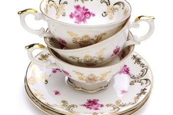 fine bone china often has a gold or metallic edging or rim