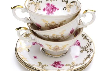 Fine bone china often has a gold or metallic edging or rim.