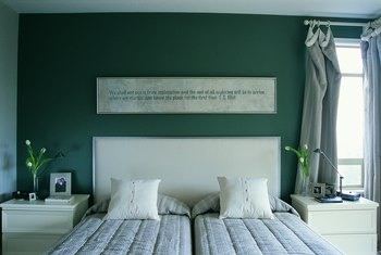 Silver And Green Are Natural Companions In The Bedroom.