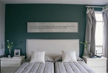 Paint with a finish that's easy to clean but doesn't cause glare is ideal for a bedroom.