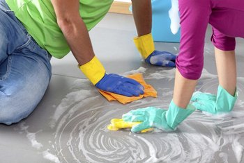 Set-in stains on vinyl flooring require special attention.