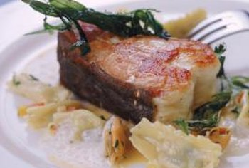 Fish with pasta can be a low-fat, low-fiber, nutritious dinner.