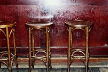 Bar stools are typically about one foot shorter than the bar.