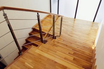 Wood stair made from hardwood.