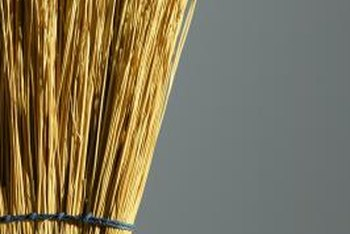 Mops and brooms are often stored or hung upside down.