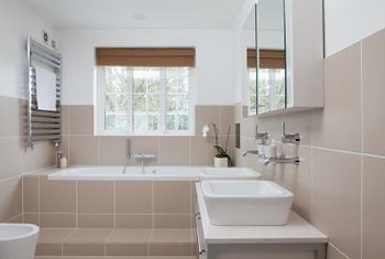 Detect the hidden color in a beige tile floor when introducing other tiles into your bathroom.