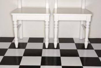 A cheakerboard pattern is as crisp on walls as it is on floors.