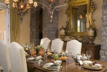 This Stone Dining Room Accent Wall Makes An Impressive Backdrop For The Large Mirror