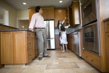 Recessed halogen lights are often used for spot lighting in kitchens.