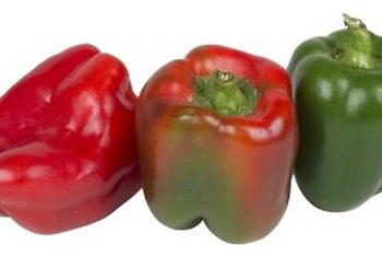 Bell peppers can ripen from green to red.