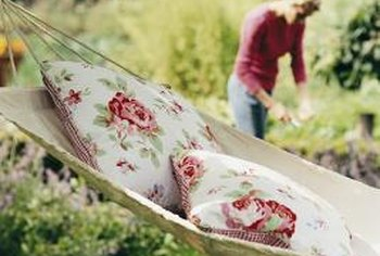 Outdoor pillows are often made of resin-treated polyester.