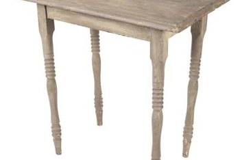 Paint or glaze, immediately removed, give previously painted furniture a weathered look.