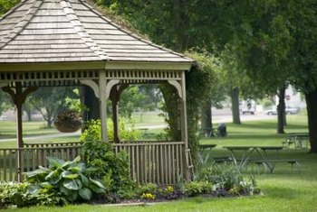Gazebos are traditionally octagonal in shape and made from wood.
