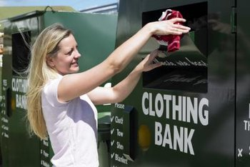 Clothing banks collect for resale or donation; recycling centers sell shredded textiles for use in new products, including furniture stuffing and new clothes.