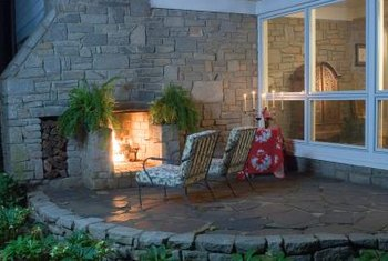 Veneer stone is ideal for a patio fireplace chimney as well as the surround.