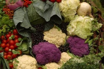 Cauliflower types include several colorful varieties.