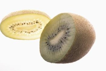 Kiwis are about 2 1/2 inch long with brown fuzzy skin.