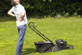 Mowing with the wrong posture can cause back pain.