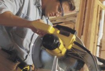 A full-featured miter saw helps with cutting door casings.
