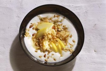Kefir can be eaten like yogurt with fruits and cereal.