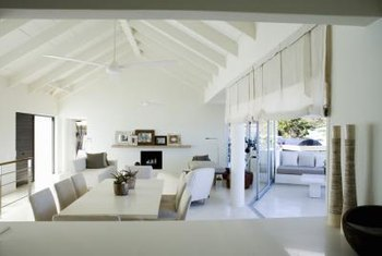 Light-colored rafters keep an open space light and airy.