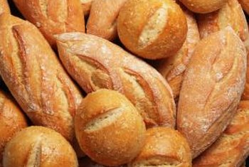 Gluten is found in wheat, rye and barley flours used to make breads.