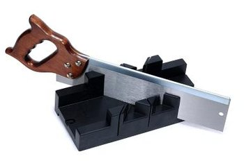 The miter box is used in conjuction with the backsaw.