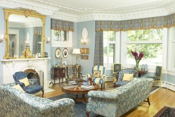 Embellished crown molding enhances a formal atmosphere.