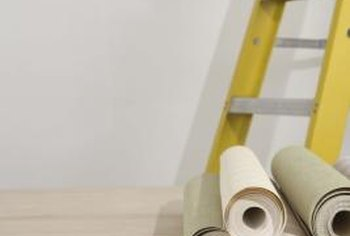 Skip the ladder and just wallpaper the bottom half of the wall.