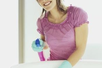 Use a 50-50 solution of vinegar and water in a spray bottle to clean and deodorize bathroom surfaces.