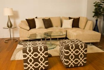Bold patterns need to be perfectly aligned between the ottoman's top and bottom.