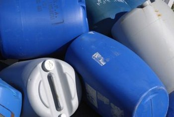 Plastic food-grade barrels are easily recycled into homemade rain barrels.