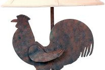 Carry the rooster theme into living and bedroom areas with rooster lamps.