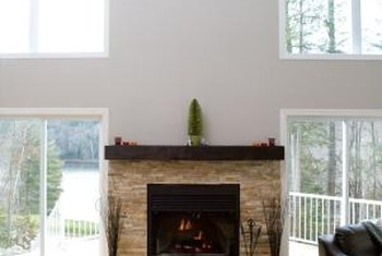 A single slab of hardwood tops a bold modern mantel.