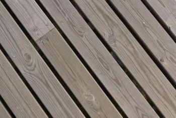 wood deck boards eventually gray from exposure to the sun