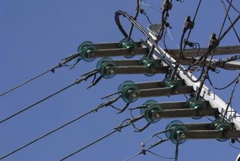Porcelain insulators are commonly used on power lines.