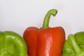 """California Wonder"" bell peppers are green when immature and red when ripe."