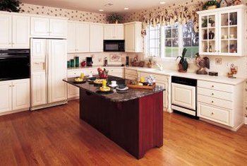 Red oak floors add instant warmth to the kitchen.