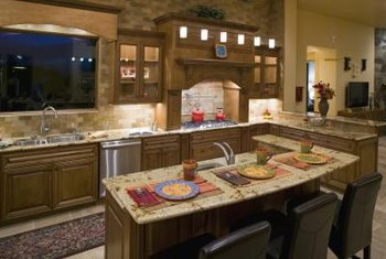 Use accessories to add shades of yellow and burgundy to a French country kitchen.