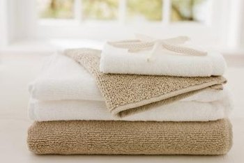 Install a porcelain towel rack in the bathroom to hang towels.