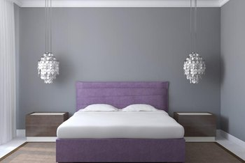 Additional shades of purple and neutrals of brown, tan. white and cream help neutralize the purple undertone in gray paint.