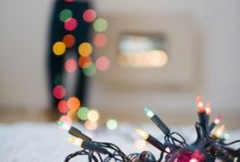With colored string lights, you can create a whismical, glowing border for your wall.
