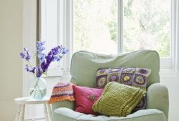Stuffed cushions add color and comfort to any room.